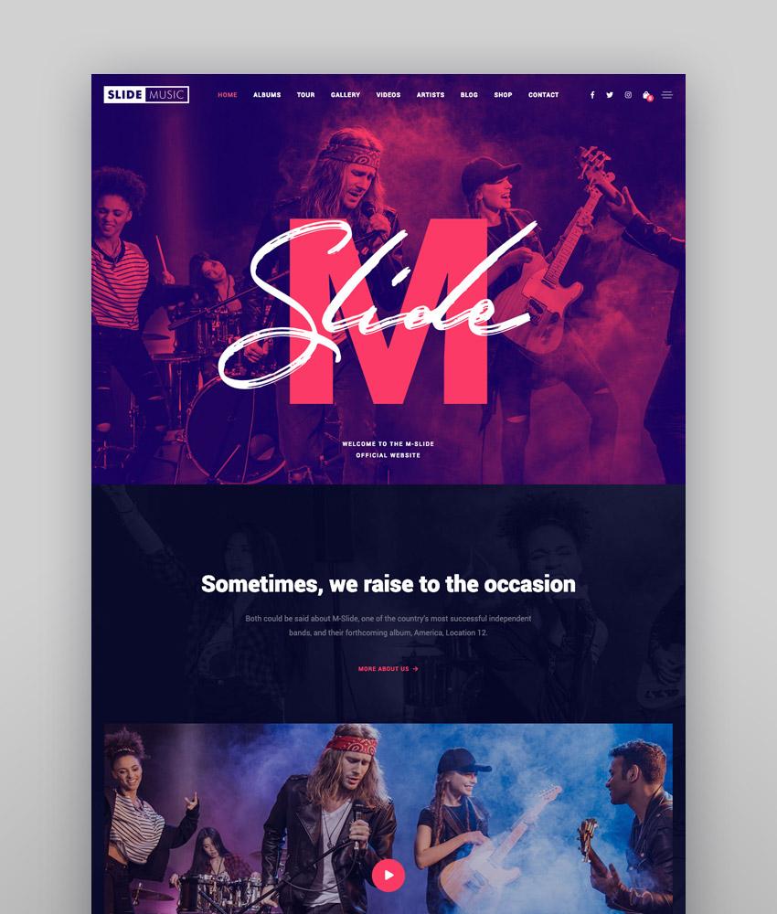 Slide  Music WordPress Theme