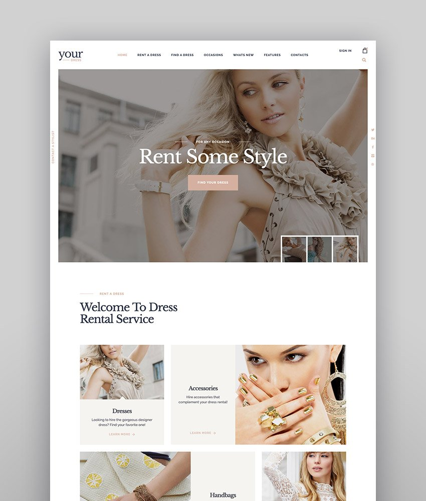 Your Dress  Clothes Rental Services WordPress Theme