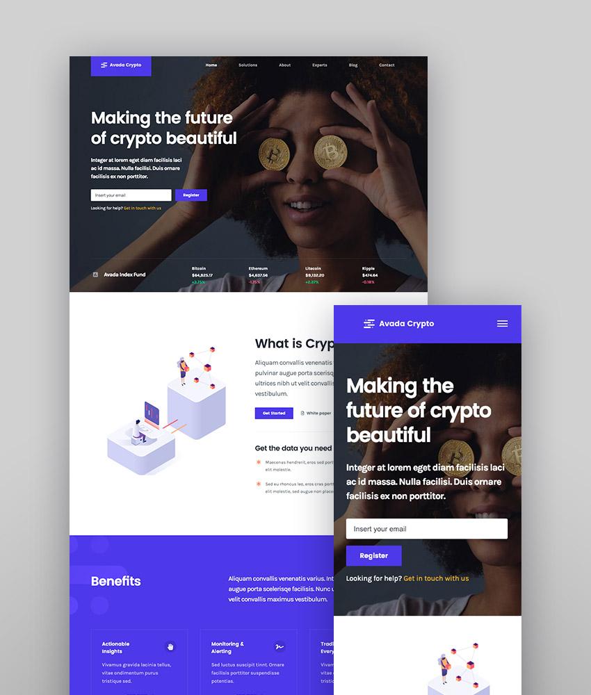 Demostración Cryptocurrency del tema Avada, uno de los mejores temas multipropósito y responsive para WordPress