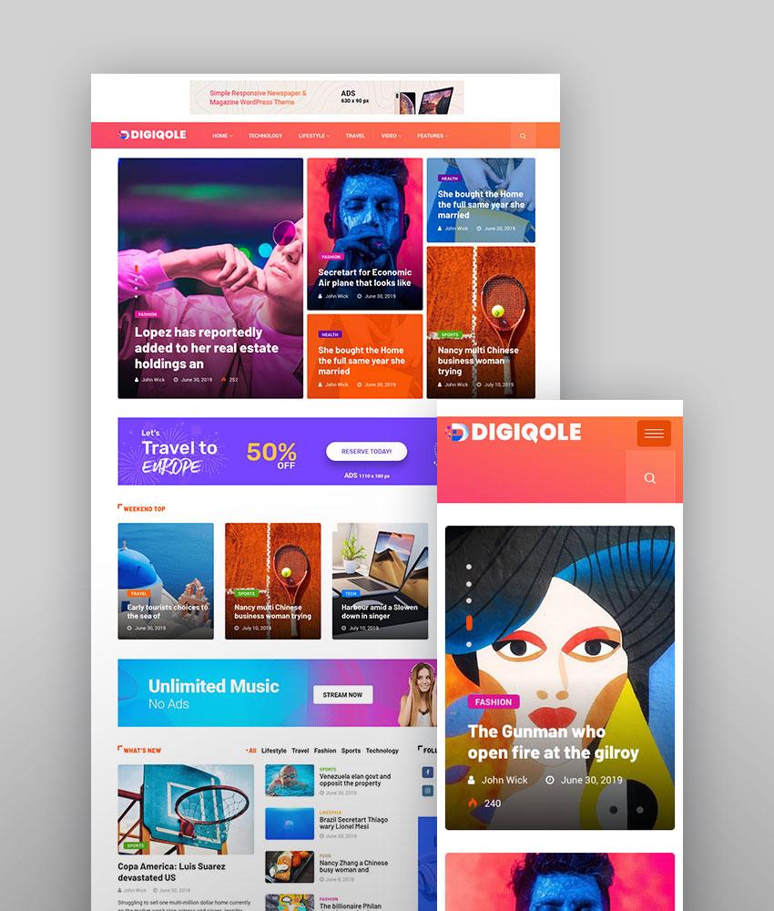 Digiqole - News Magazine Premium Responsive WordPress Theme