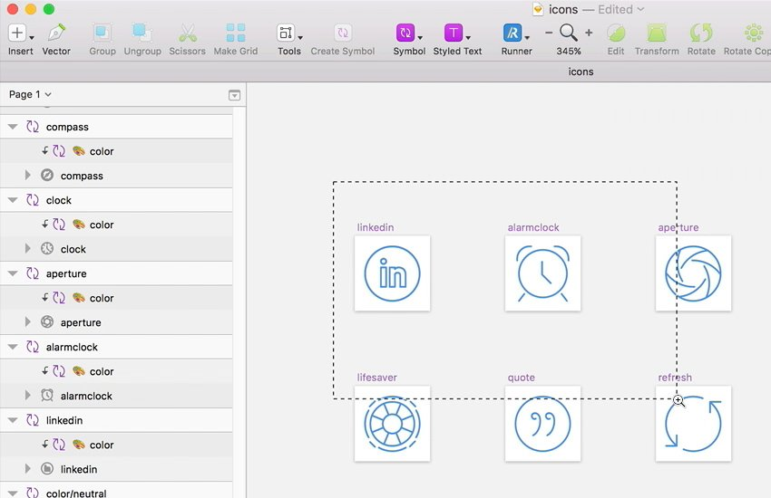 Imported icons into Sketch