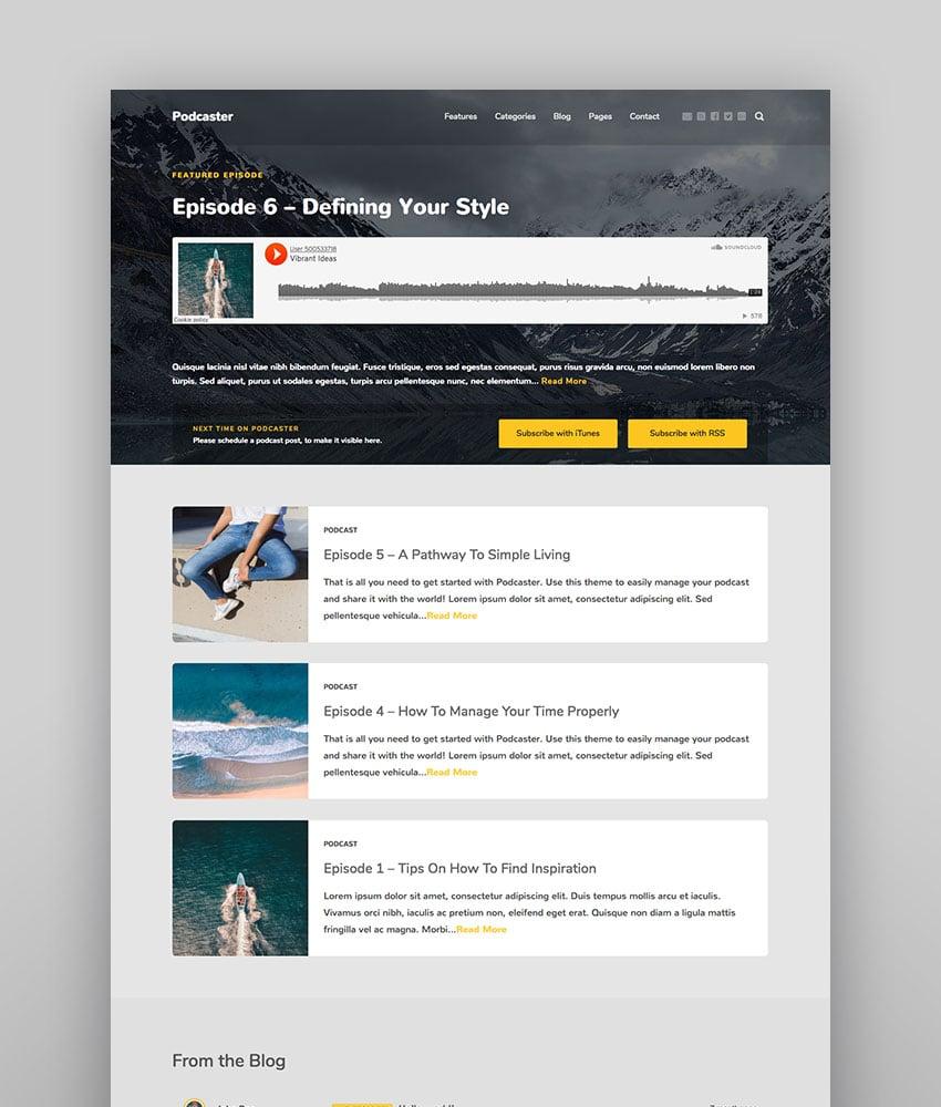 Podcaster - Tema multimedia para WordPress