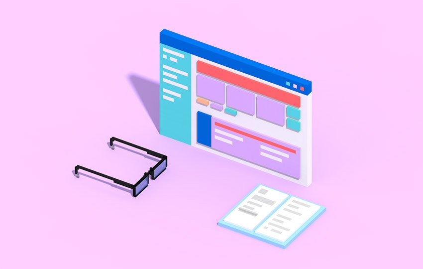 Isometric website with book and glasses