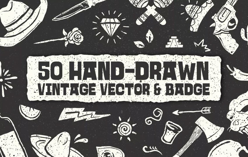 50 Hand-drawn Vintage Vector Badge