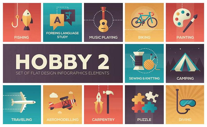 Hobby - set of flat design infographics elements