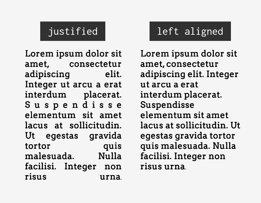 fully justified text vs left aligned text