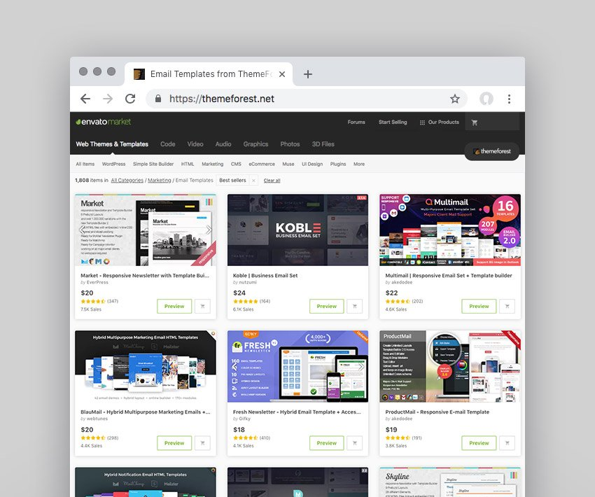 top selling marketing email templates on Envato Market