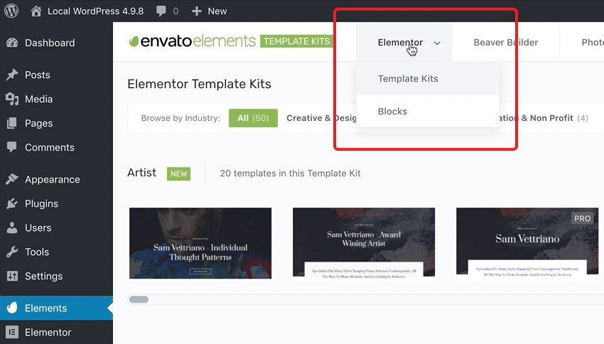 elementor kits in envato elements plugin for wordpress