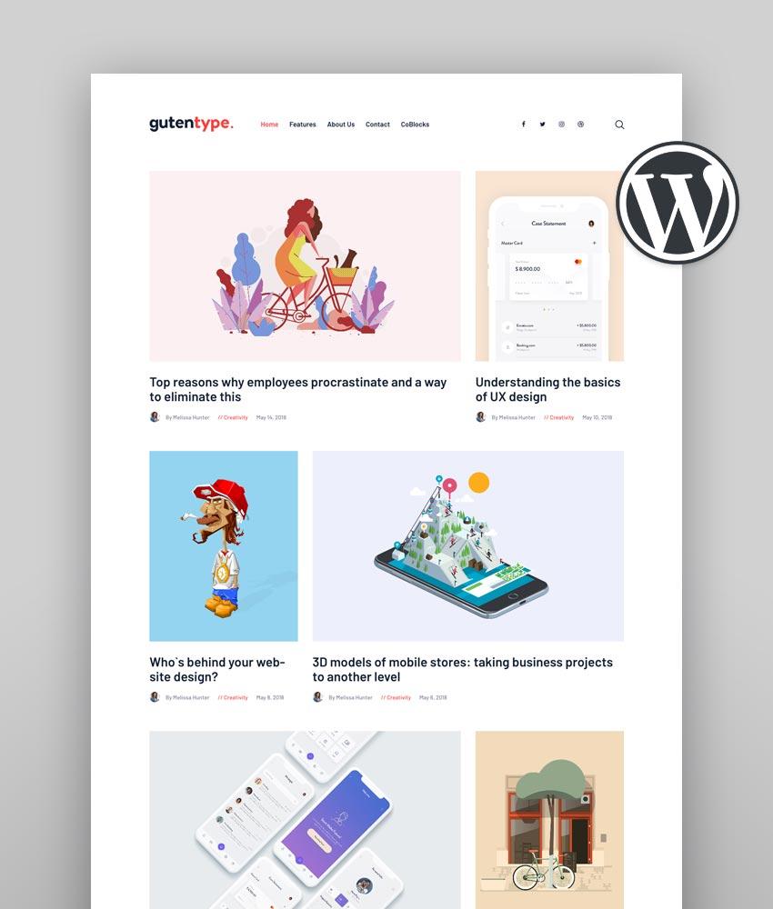 Gutentype  100 Gutenberg WordPress Theme for Modern Blog
