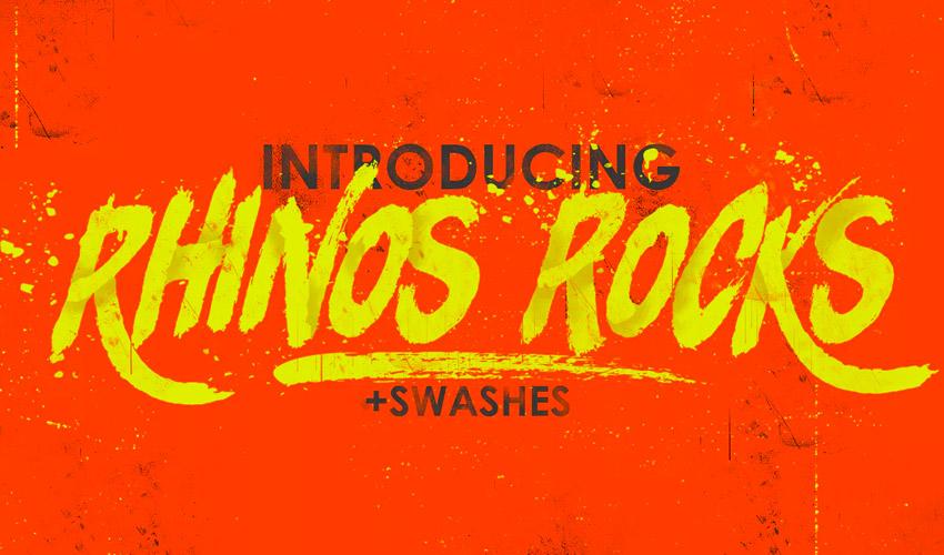 Rhinos Rocks Brush Font