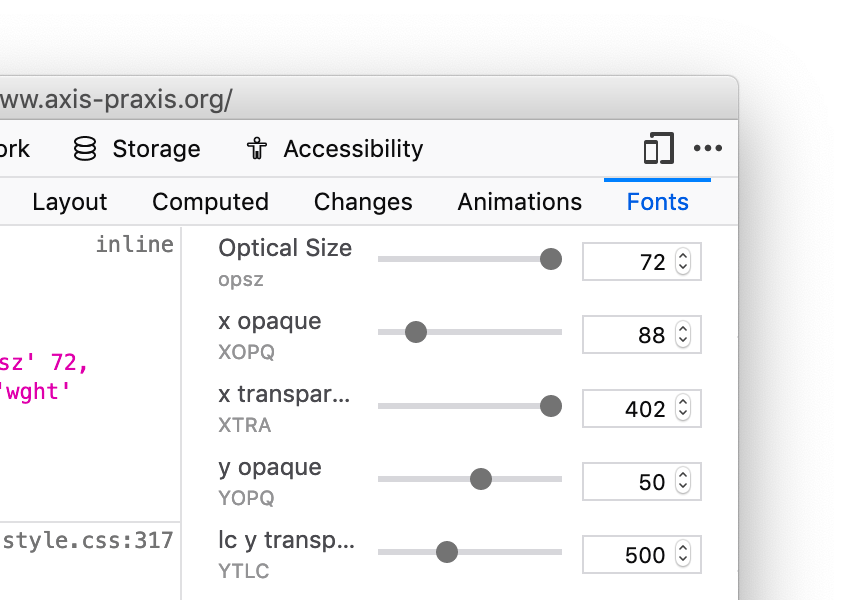 Variable fonts insepctor
