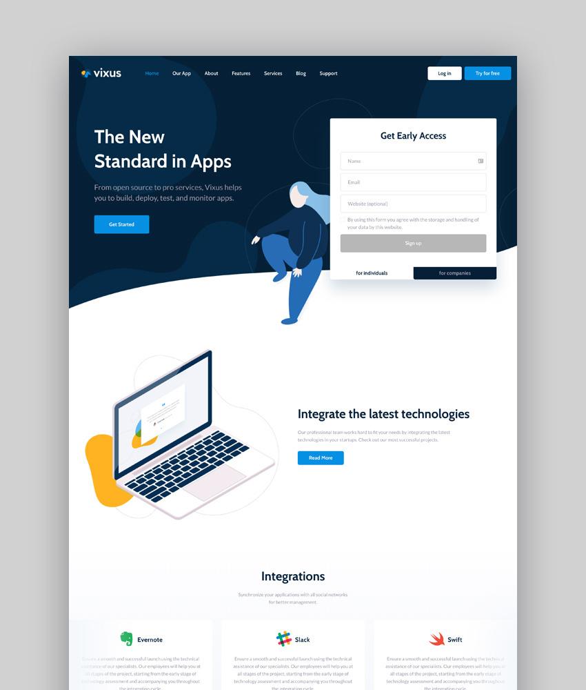 Vixus  Startup  Mobile App WordPress Landing Page Theme