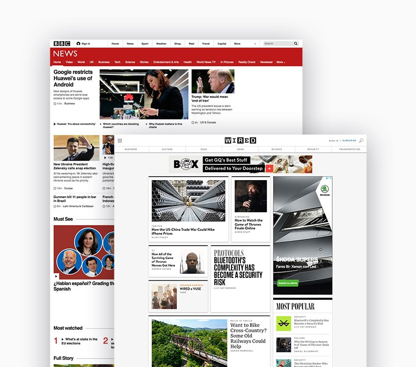BBC news and Wired