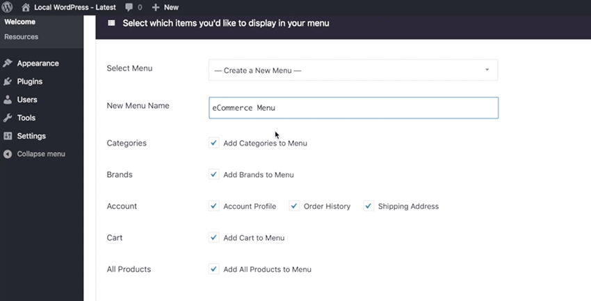 How to Create a Menu for the Store