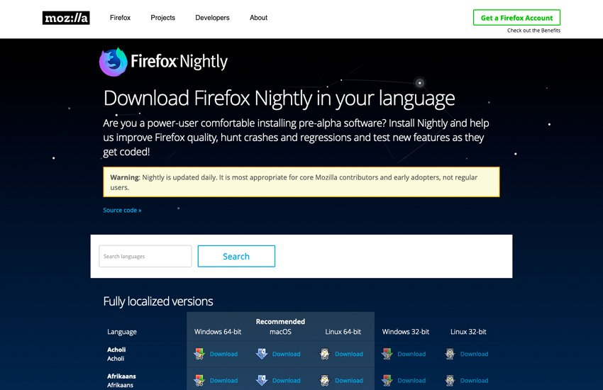 Download Firefox Nightly