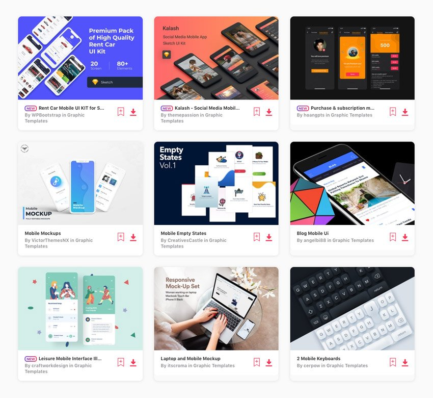Mobile UI and UX kits