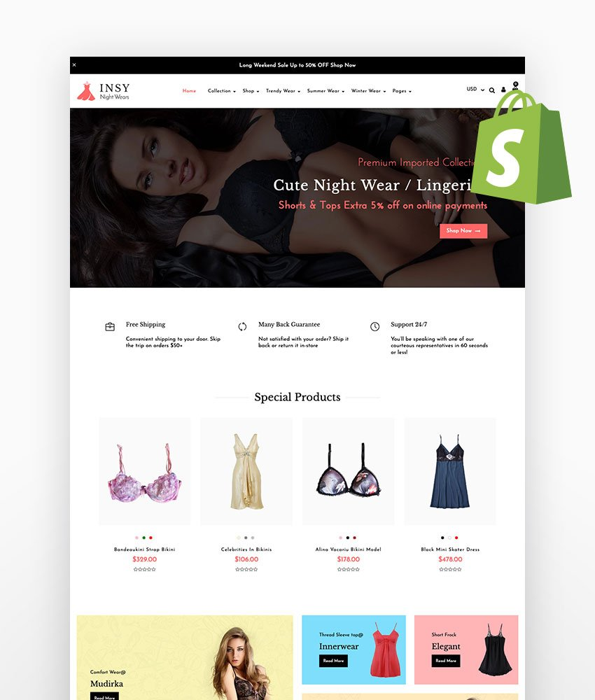 Insy Inner Wear Shopify Theme