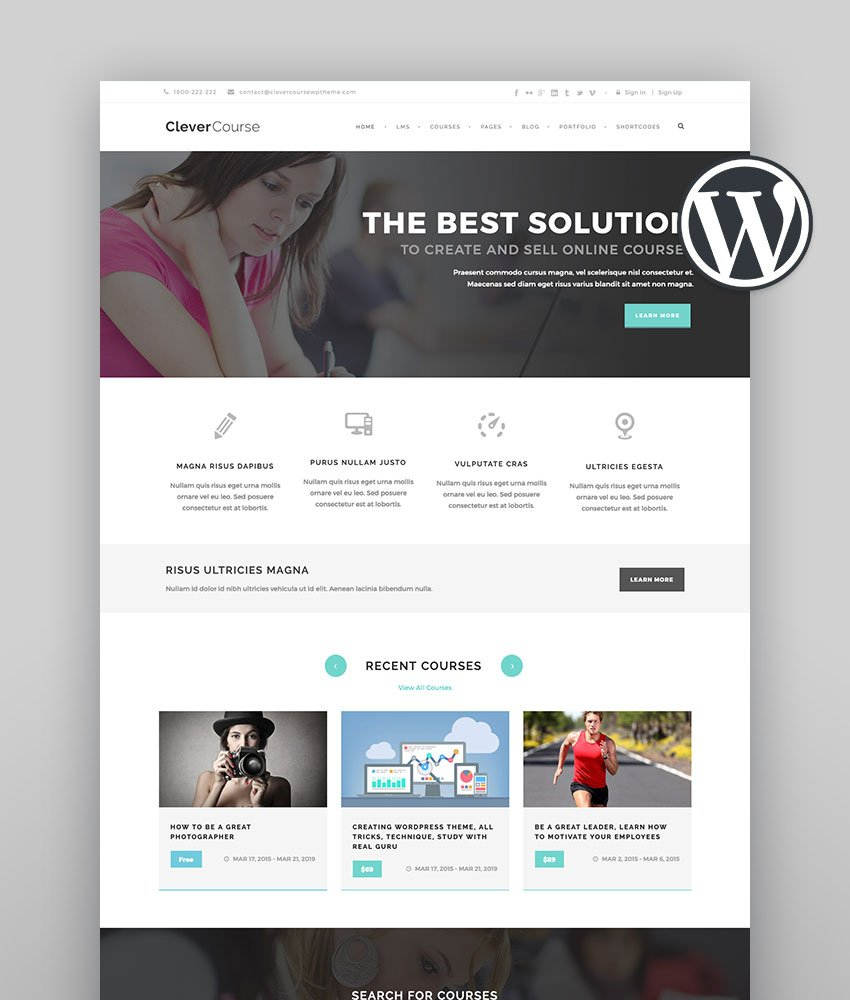 Clever Course - Education  LMS learning management system wordpress theme