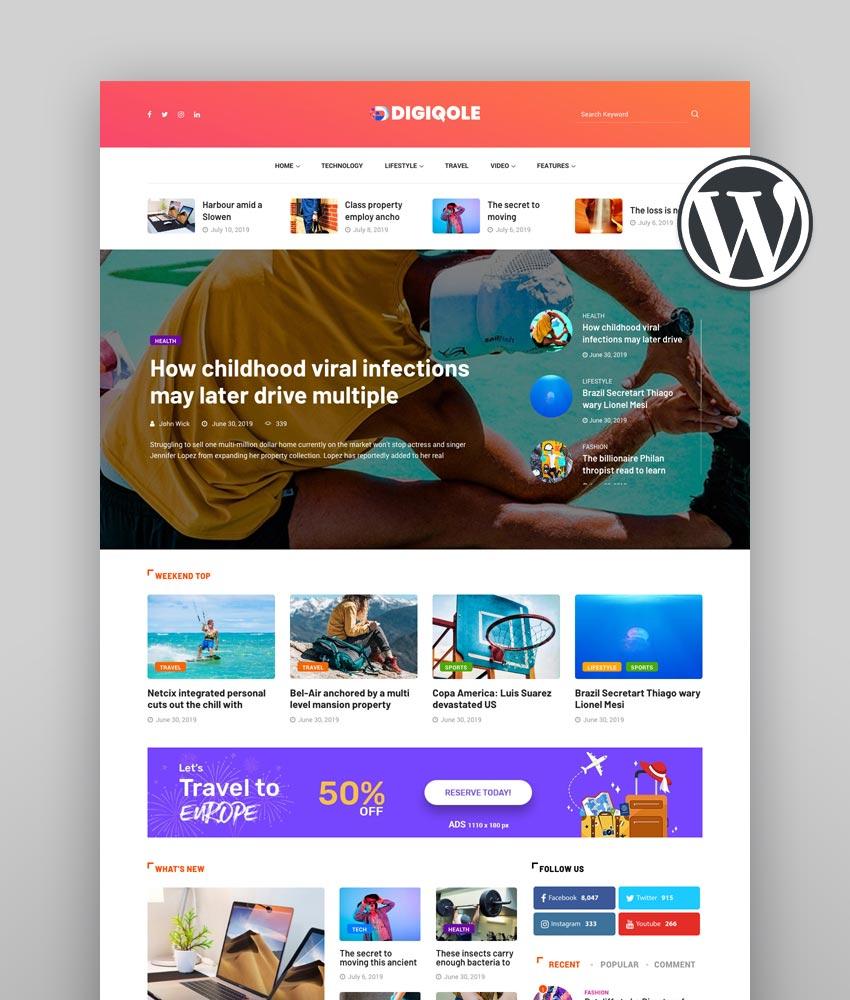 Digiqole Best Newspaper WordPress Theme