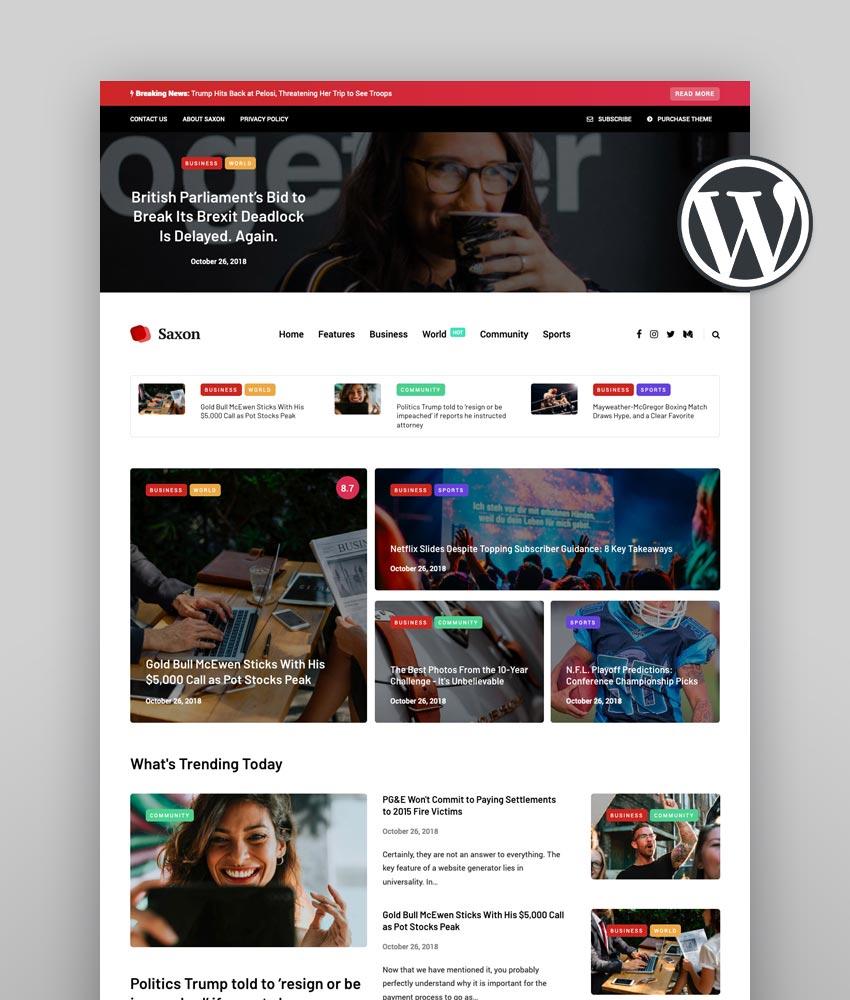 Saxon Best News Theme WordPress