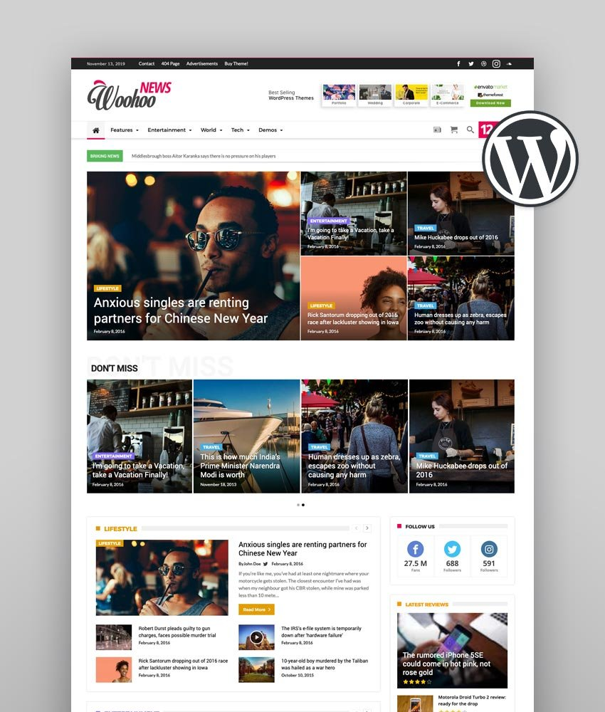 Woohoo  Multi-Purpose Newspaper for WordPress