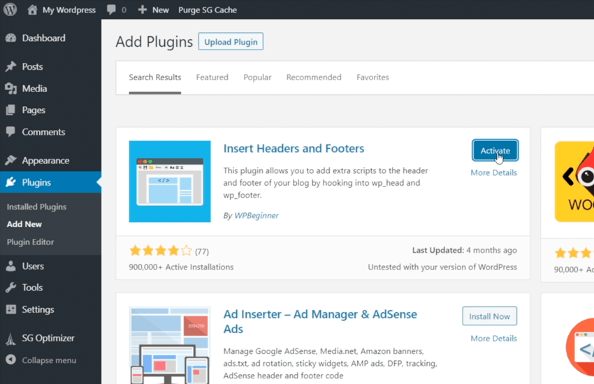 Use the Insert Headers and Footers WordPress Plugin