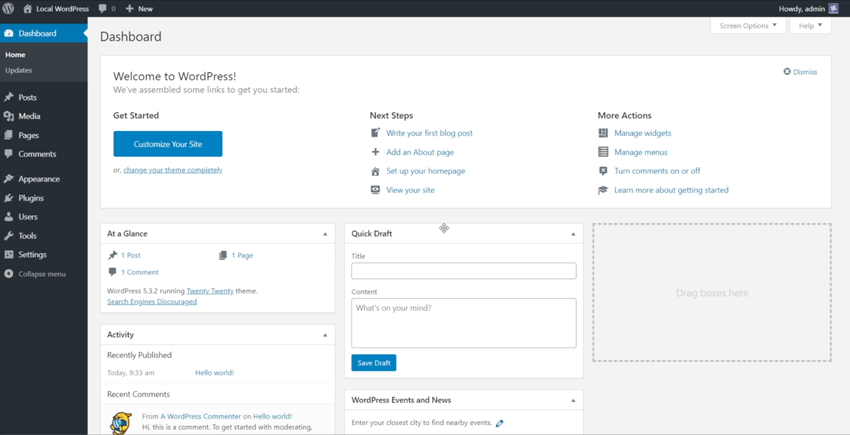 access wordpress dashboard