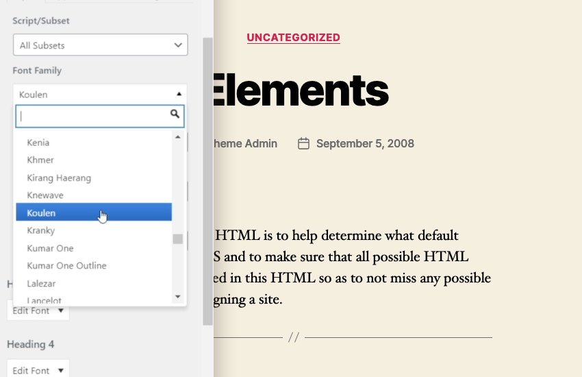 type settings wordpress
