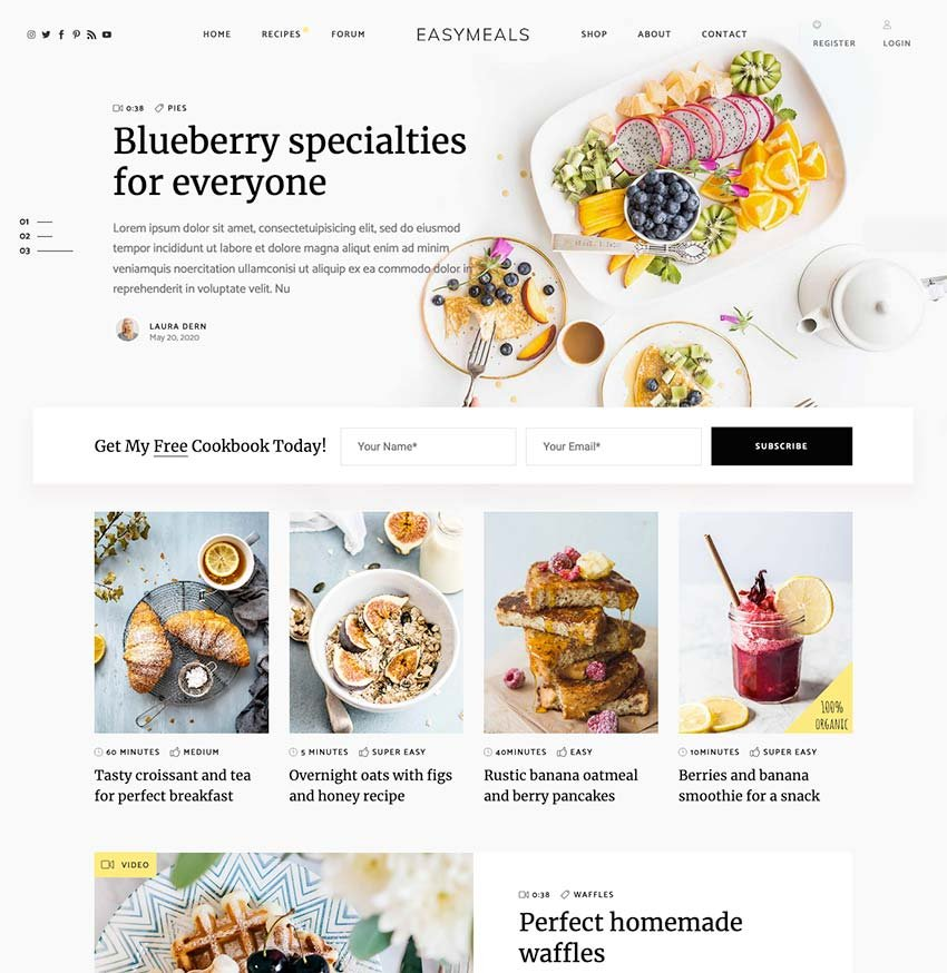 EasyMeals—Food Blog WordPress Theme