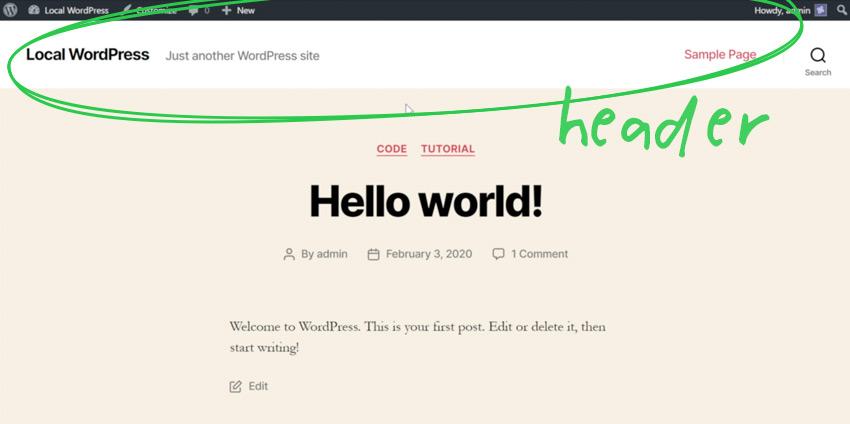 the Header in WordPress