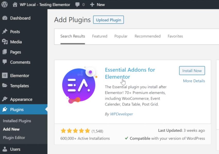 Essential Addons for Elementor plugin