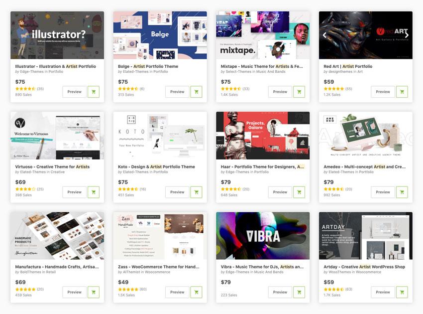 artist portfolio wordpress themes on themeforest