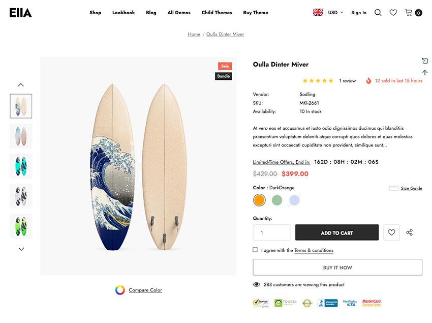Ella: Multipurpose Shopify theme product listing