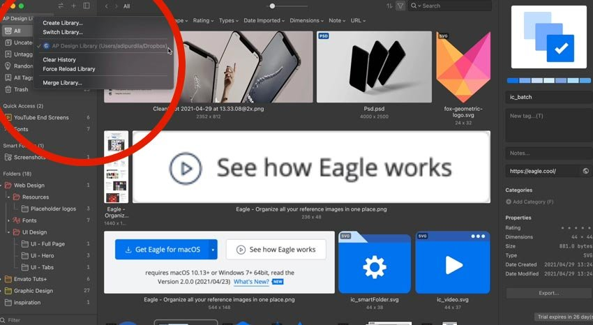 where does eagle app save files