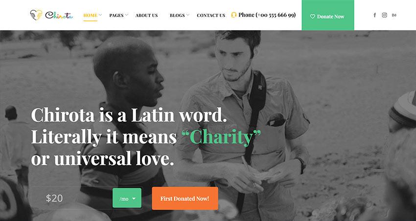 Chirota – Non Profit Charity HTML Template