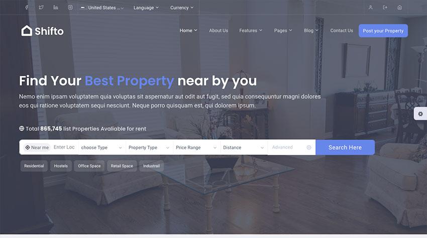 Shifto - Rental Listings Bootstrap HTML Template