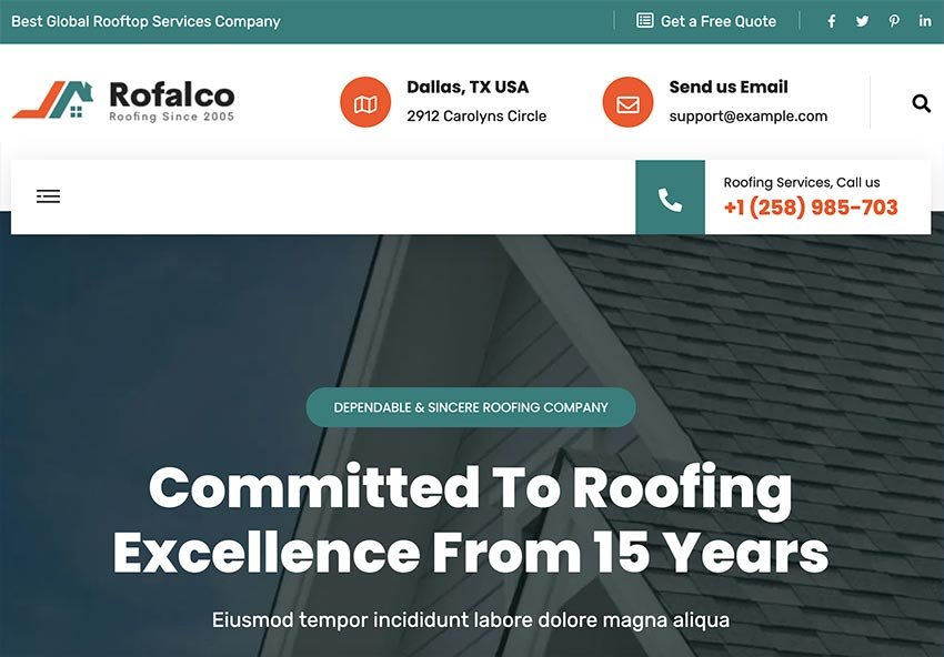 Rofalco –Roofing Services HubSpot Theme