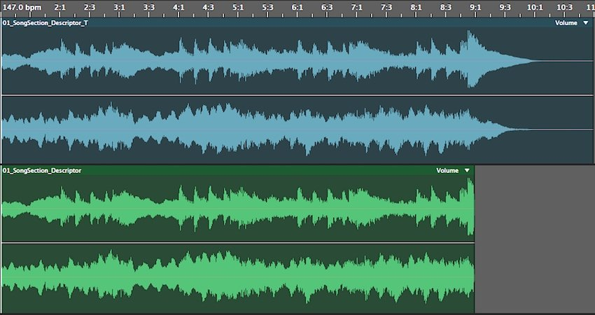 Example of corresponding tail top in blue and no tail bottom in green song sections