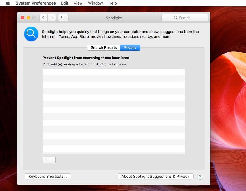 Mac Spotlight Privacy settings