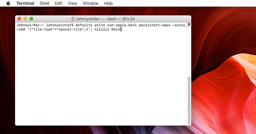 Using Terminal to create an invisible tile in the dock