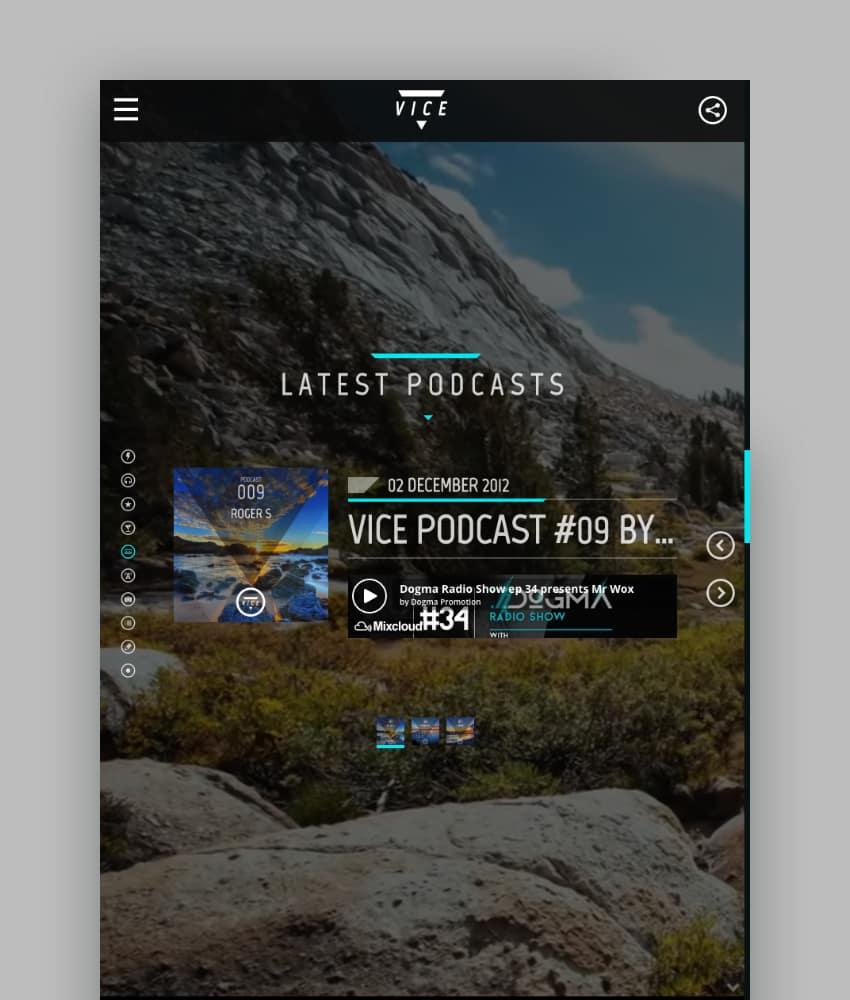 Vice - Tema de WordPress para podcast y música