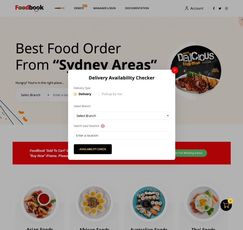 FoodBook Multibranch Add-on