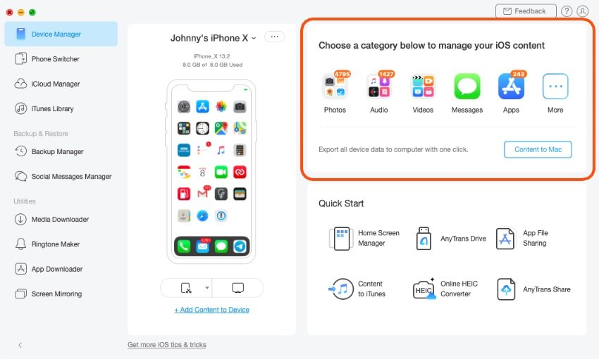 AnyTrans app manage device content