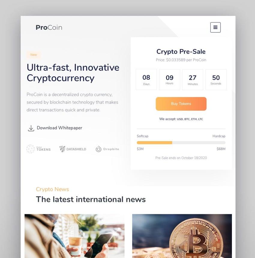 ProCoin - Tema de WordPress para Bitcoin, criptomonedas e ICO