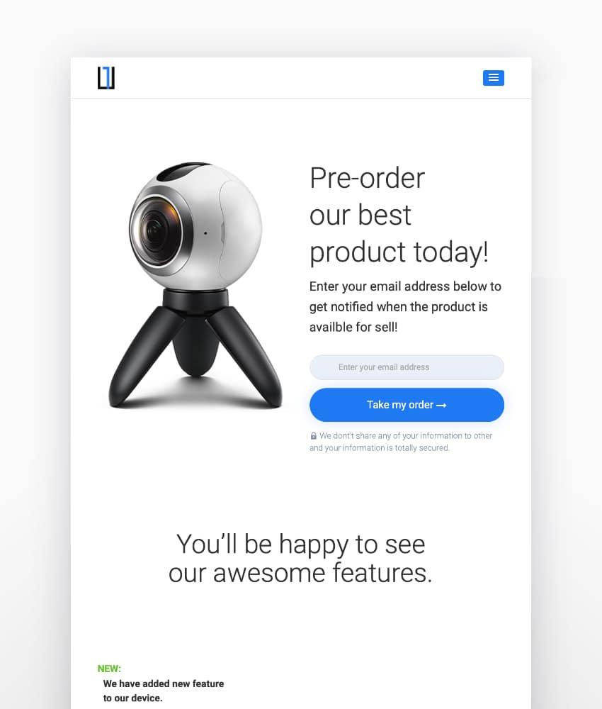 One - WordPress Product Landing Page