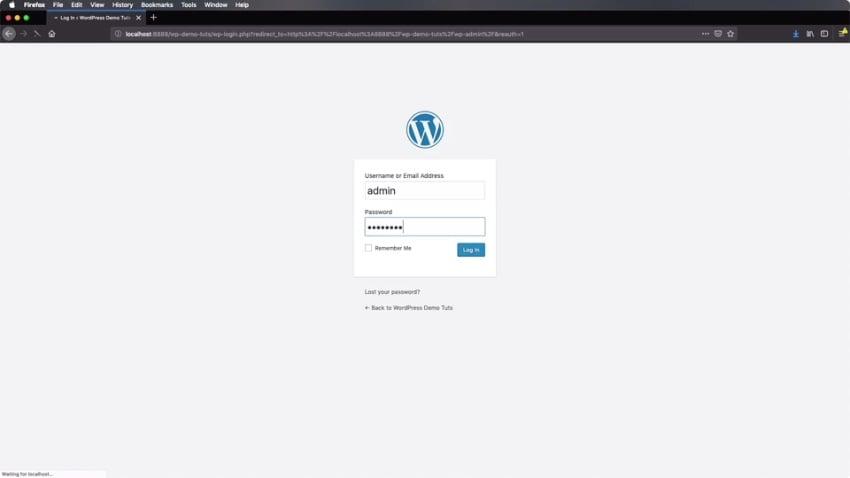 Logging in to the WordPress dashboard
