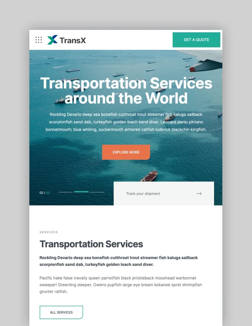 TransX—Transportation and Logistics WordPress Theme