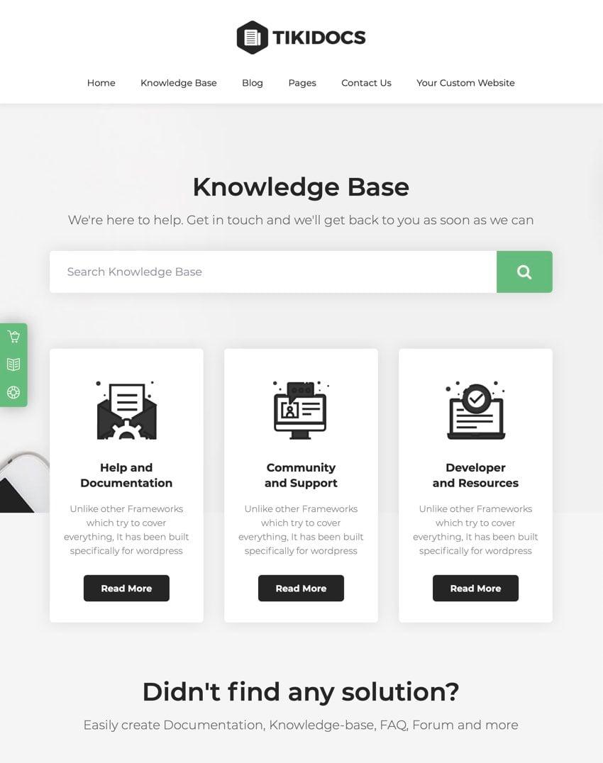 Tikidocs - Tema de WordPress para base de conocimiento y foro de soporte