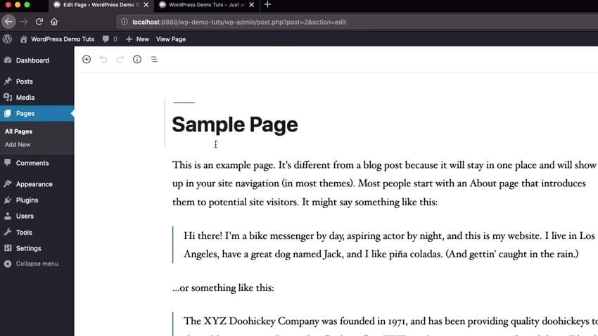 A WordPress Page