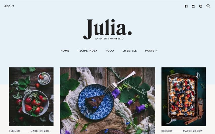 Julia—A Steady Food Blog WordPress Theme
